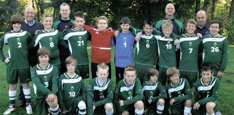 Race u14s team in their new strip bought thanks to local sponsorship
