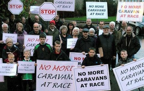 PROTEST: Residents outside the Torfaen council meeting