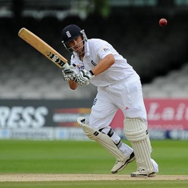 Jonathan Trott (66), pictured, and Ian Bell (24) took England safely to stumps on day four