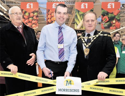 OFFICIAL OPENING: From left, Torfaen County Borough Council chairman Cllr Bob Wellington, Morrisons store general manager Mark Ogborne and the town mayor Cllr Wayne Tomlinson