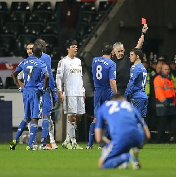 Eden Hazard was sent off against Swansea, who will play Bradford in the final at Wembley