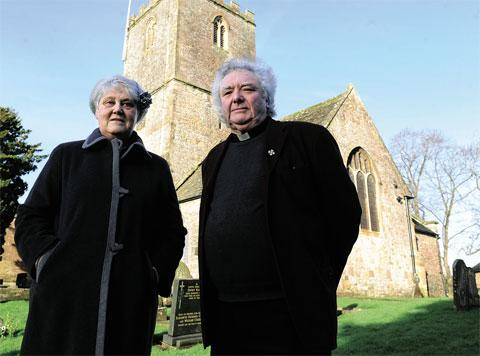 LEAD THEFT: Warden Pauline Hayward and Rev Canon Lyndon Harrison outside St Mary's Church, Caldicot