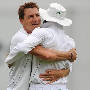 Dale Steyn, left, inspired South Africa to a 211-run win