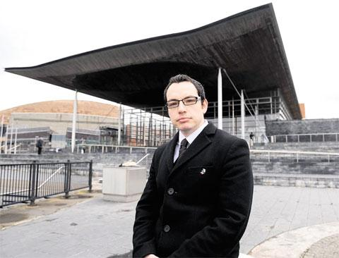 GAINING SUPPORT: Matthew Davies at the Senedd