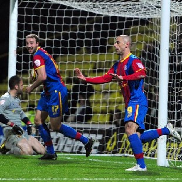 Kevin Phillips, right, scored his first goal for Crystal Palace on Friday night