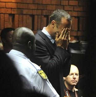 Oscar Pistorius weeps in court in Pretoria at his bail hearing (AP)