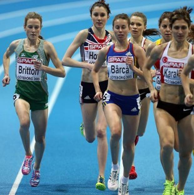 Fionnuala Britton, left, and Lauren Howarth, second left, compete in the women's 3000 metres in Gothenburg