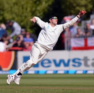 New Zealand's Hamish Rutherford catches the ball during Day Two of the First Test at the University Oval, Dunedin