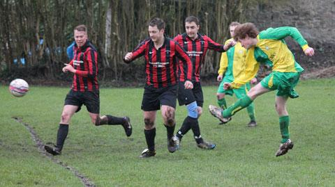 Geraint Reynolds heads Tintern Abbey's first goal in the 2-0 home win over Caldicot Castle A