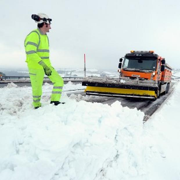 A snowplough clears the A66 near Bowes where the road was closed for several hours due to heavy snow