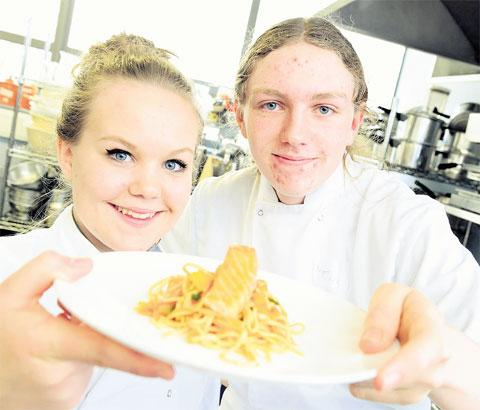 FANTASTIC FOOD: Alana Edmunds and Keigan Ayling of West Monmouth School with their winning dish in the Appetite For Life schools cook off hosted by West Monmouth School