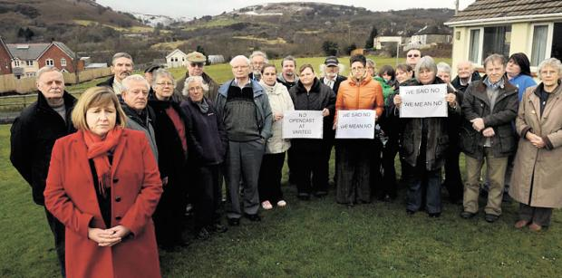 OPPOSITION: : Lynne Neagle AM with residents who are against plans to opencast mine at The Varteg