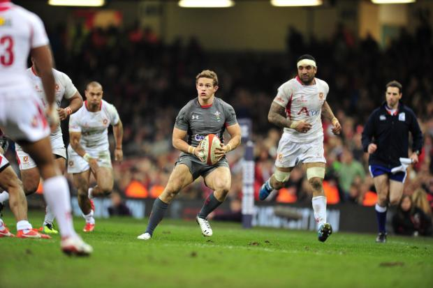 Newport Gwent Dragons star Hallam Amos plays in his opening Test tonight, making his bow for Wales against Tonga at the Millennium Stadium on the wing at the tender age of 19 years and two months.  Amos breaks clear of his 22 but quickly surrounded by the