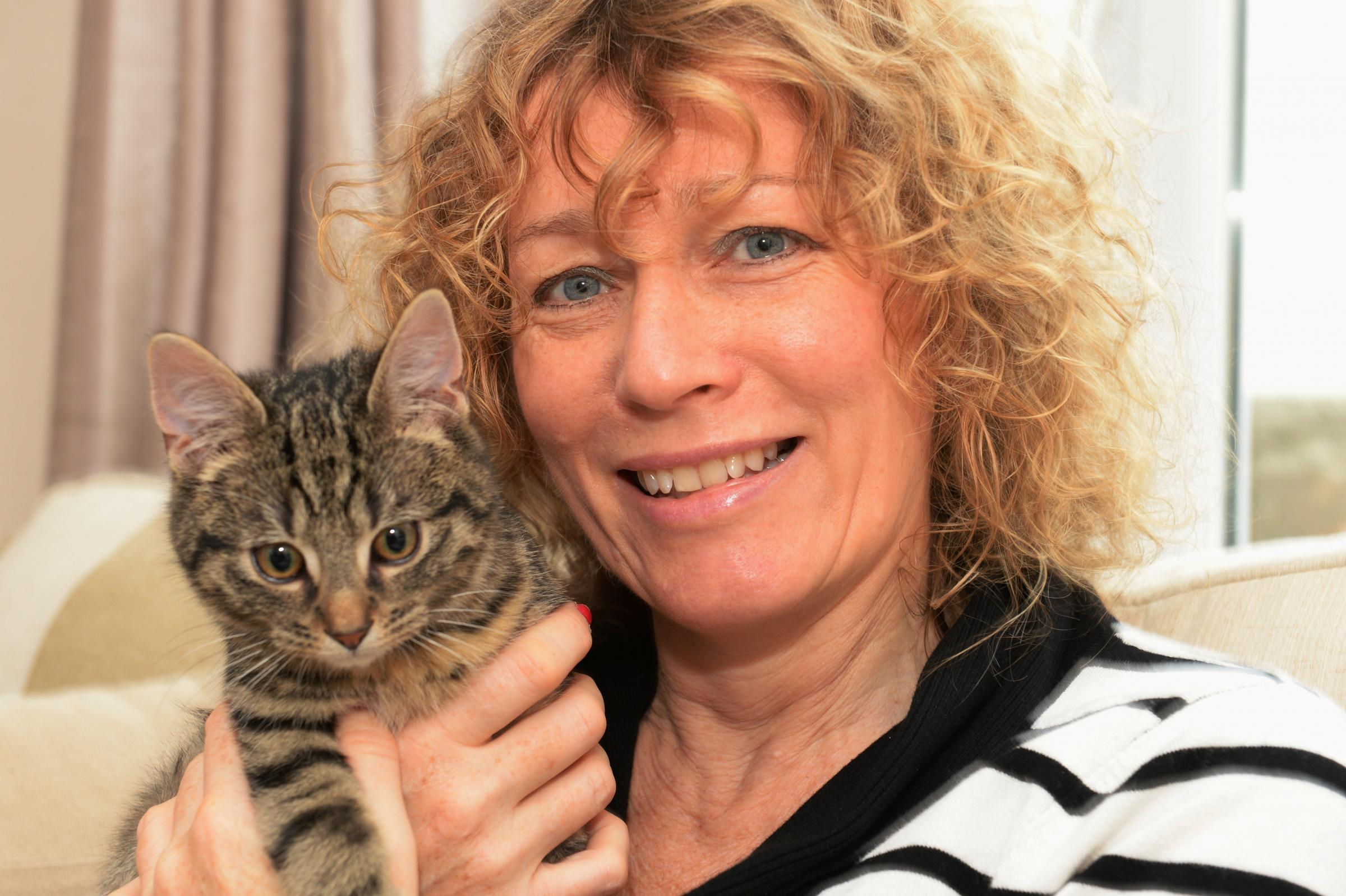 Juliet Gallatley, founder of V'IVA, (vegetarian international voice for animals) with her kitten, Loki, at her home in Shirenewton, who is to make a record to help raise funds with the help of celebs (2797051)