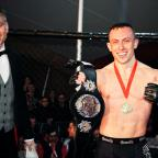 Free Press Series: Richard Buskin after winning the lightweight UFW champion belt