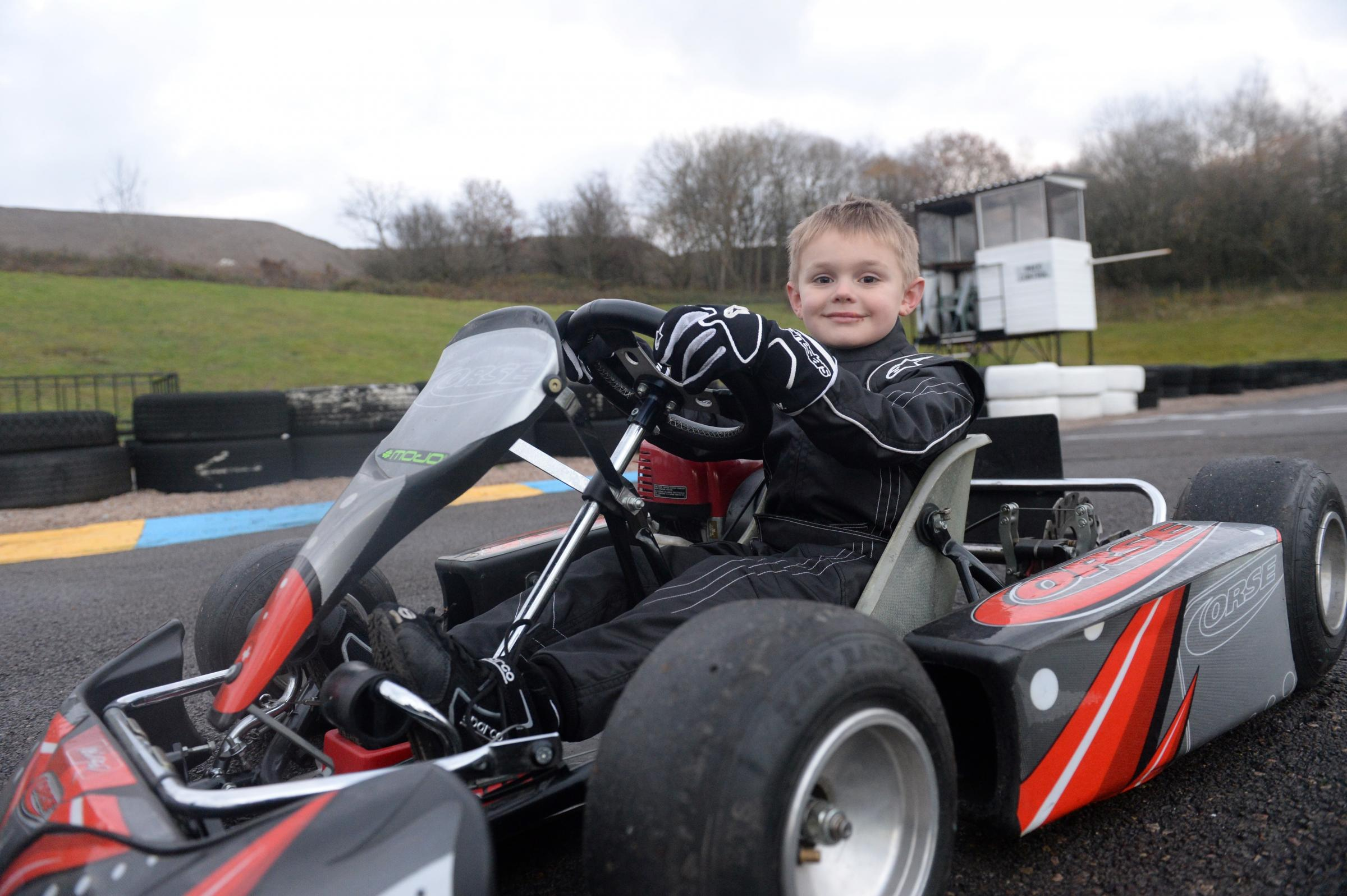 Caleb McDuff is hoping to become Formula One's first deaf racing driver. Caleb in his Go-kart at G-Force Karting in Pontypool. (2916585)