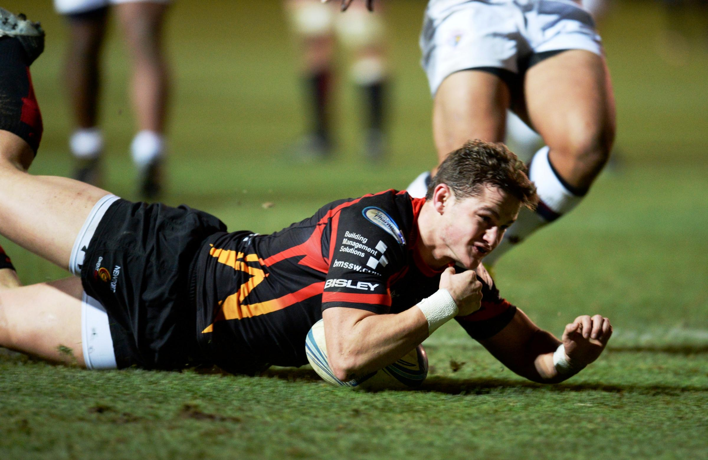 TRY TIME: Dragons back Hallam Amos scores during his side's 40-24 bonus point win over Bordeaux-Bègles at Rodney Parade earlier this month in the Amlin Challenge Cup