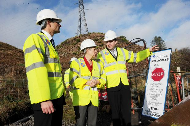 VISIT: Finance minister Jane Hutt with Martin Gallimore and project manager Mike Cummine seeing the latest work being done on the A465 Heads of the Valleys road between Brynmawr and Tredegar
