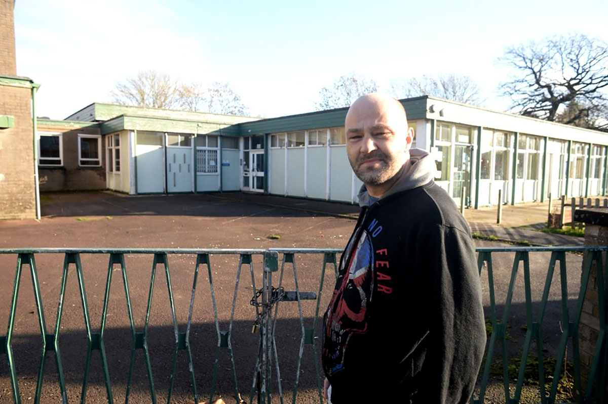 CONCERN: Caldicot Councillor Patrick Maycock-Jones for West End in front of the former primary school, which has become a magnet for anti-social behaviour