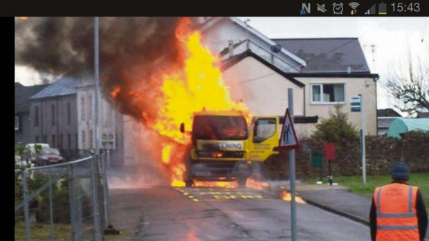 ON FIRE: This photograph was taken by an Argus reader of the Talywain lorry blaze.