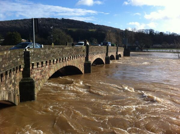 DEBRIS: The Wye bridge at Monmouth will closed tonight to clear debris that has built up during the recent flooding