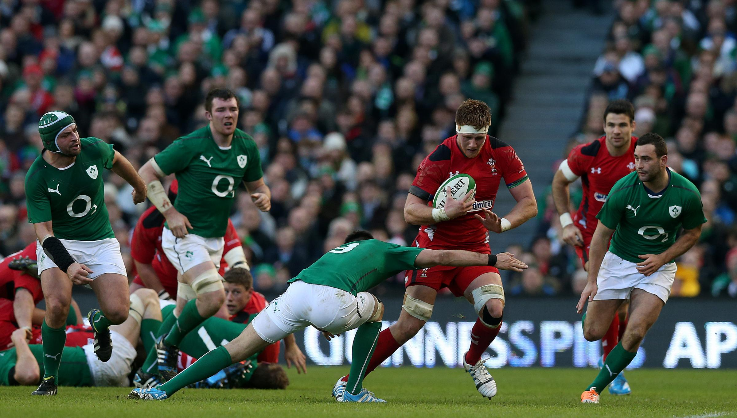 NO WAY THROUGH: Wales star Andrew Coombs suffers against Ireland for the sec