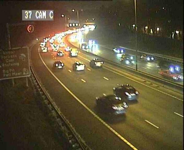 Delays on M4 around Newport following crash