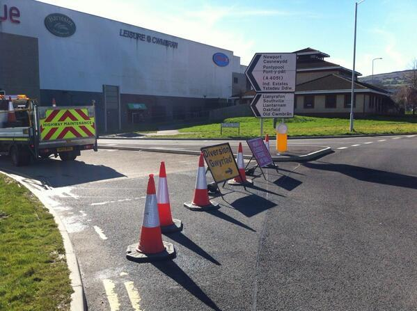 Resurfacing causes delays near Cwmbran Morrisons