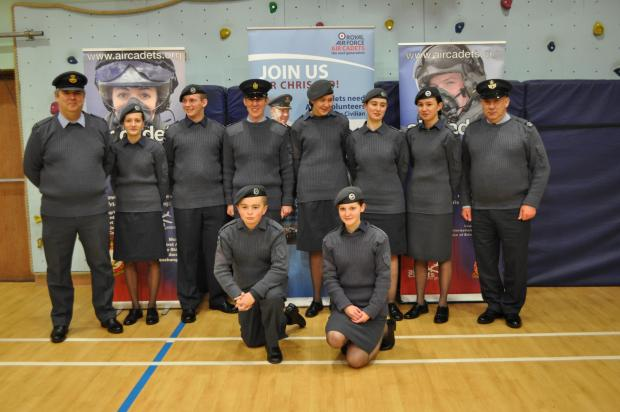FLYING HIGH: Some of the Abergavenny squadron who went to Usk for the inaugural community engageme