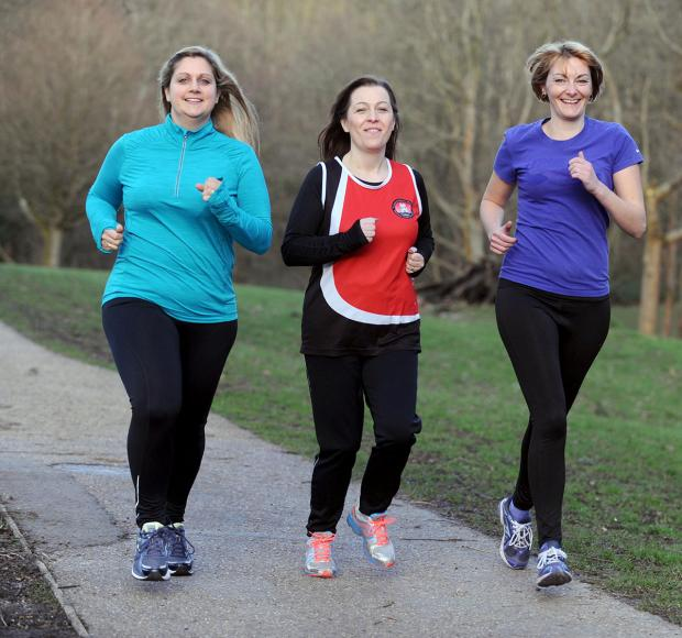 READY TO RUN: Warming up for the Mic Morris 10k in Pontypool are L-R Anita Mackertich-Sellick Samantha Hawksworth and Cllr Fiona Cross