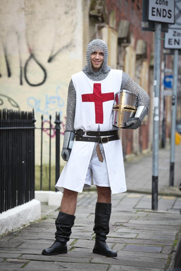 "Free Press Series: ""KNIGHT IN SHINING ARMOUR"": Mike Dodd is running his first London Marathon in full armour for charity (Picture courtesy of Bristol Post)"