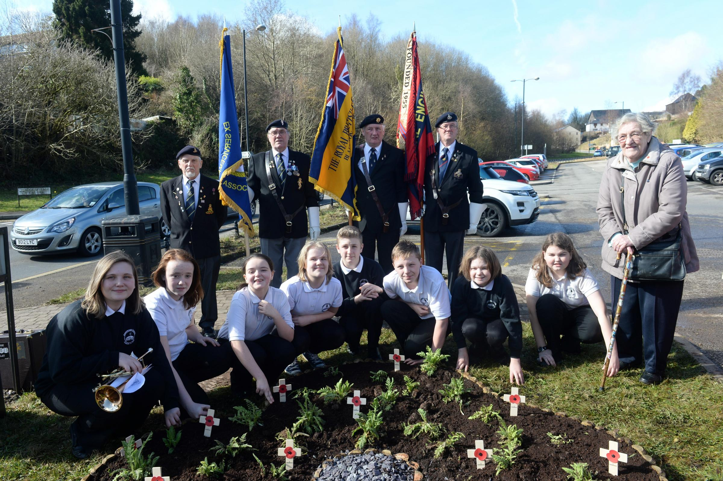 Official opening of memorial garden in Abersychan. Pupils from Abersychan school with representatives of the Blaenavon Royal British Legion and Cwmbran and District ex servic