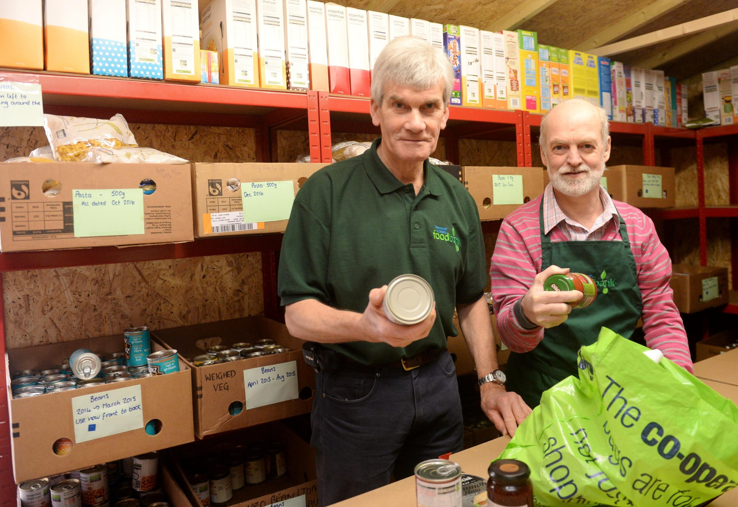 Monmouth Baptist Church opens foodbank. David Davies MP officially opens the foodbank at Monmouth Baptist Church. Pictured are Alan Cochrane and Andy Rossiter from Monmouth and District Foodbank. (4456891)