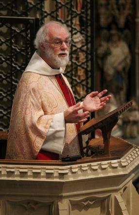 The Archbishop of Canterbury Dr. Rowan Williams 62, delivers his final sermon at Canterbury Cathedral during the Sung Eucharist service. PRESS ASSOCIATION Photo. Picture date: Sunday December 30, 2012. The Archbishop of Canterbury will leave office tomorr