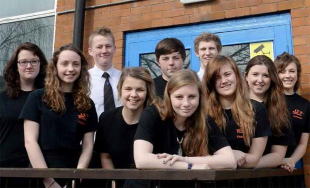 Monmouth Comprehensive students Leah Bradshaw, Claire Baker, Sean McMahon, Chloe Mansell, Rhodri Griffiths, Becky Wellington, Lewis Chapman, Stephanie Davies, Sophie Macken, and Evangaline Clanice