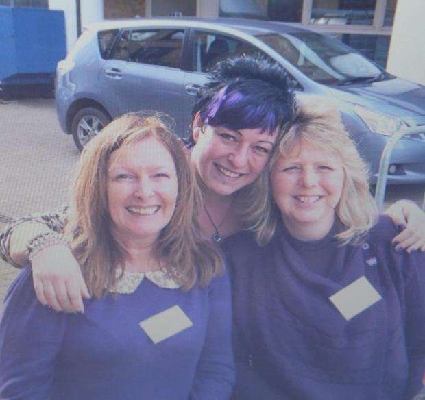 Free Press Series: Linda Reardon, 56, is campaigning to raise awareness of pancreatic cancer. She lost her mum Lynn Ball to the disease in 2010 and her mum's cousin Noel Young to it in 2004. Pictured is Linda (left) with Kelly Spacey and Kim Jennifer supporting Pancre
