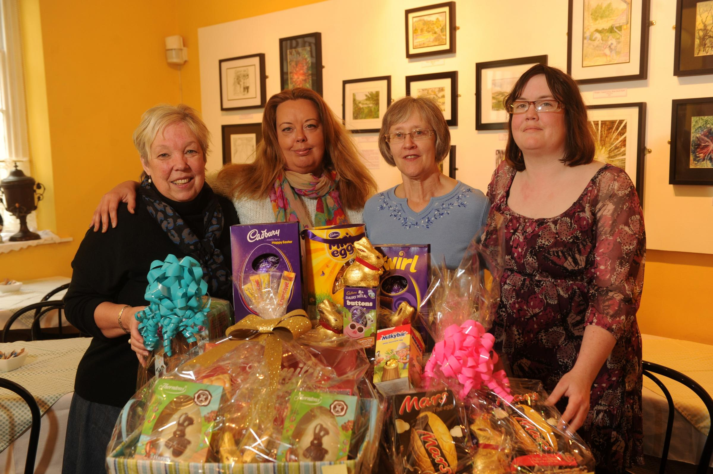 Volunteers at Pontypool Museum with the Easter raffle prizes (4943734)