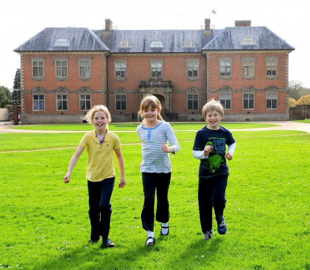 Free Press Series: There off. The National Trust Easter egg hunt at Tredegar House, Newport. L-R Carys Salter 9 Isla Williams 8 and Joe Salter 7 (5265720)