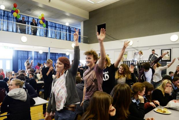 Chepstow School new website was launched and was earmarked with sixth form students performing a flashmob in the hall. (5247772)