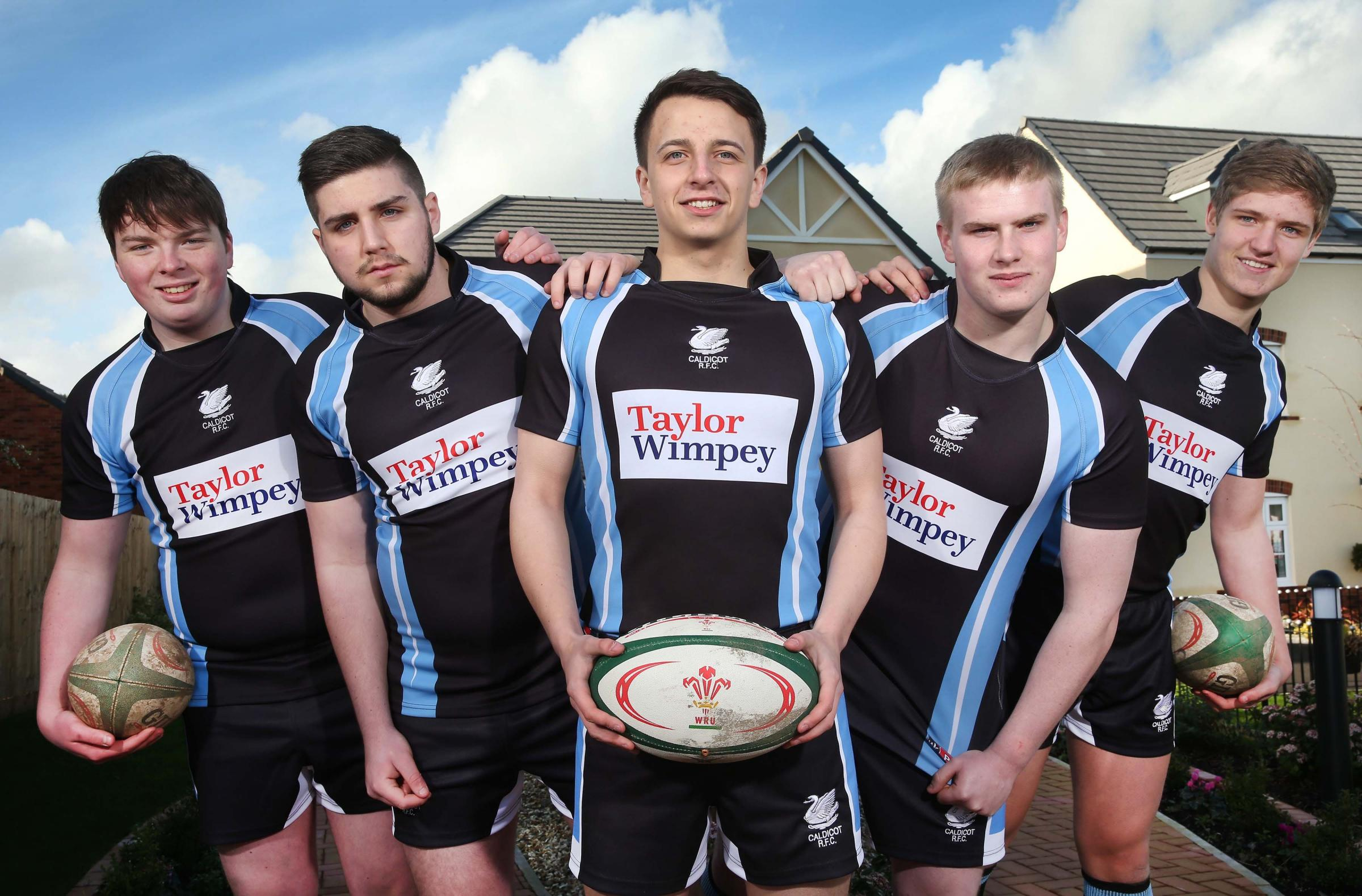 Pics (C) Huw John Photography, Cardiff. MANDATORY BYLINE - HUW JOHNCaldicot Youth RFC players are in a new match kit this season thanks to a generous donation by leading housebuilder Taylor Wimpey. (On image 1 players are l-r: Shane Stephens, Jac Richards