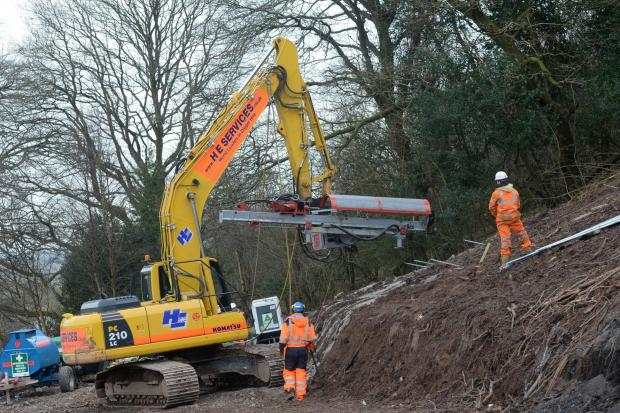 Work on the Monmouthshire-Brecon Canal at Llanfoist near Abergavenny. Heavy Machinery at work to help secure the hill side. (4423378)