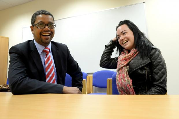 Vaughan Gething, AM, Deputy Minister for Tackling Poverty with Shona Knapman, 16, of Tredegar