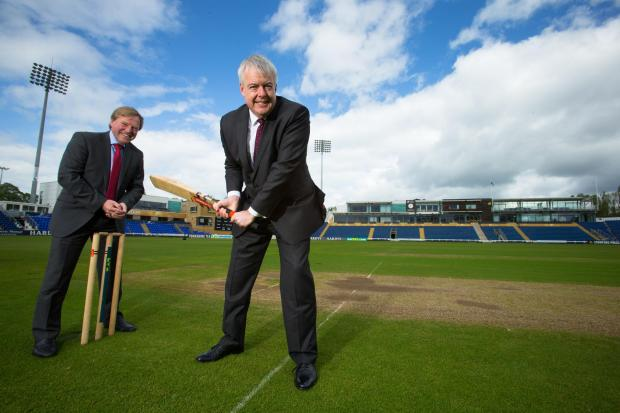 Free Press Series: DELIGHTED: Glamorgan cricket chief executive Hugh Morris, left, and First Minister Carwyn Jones