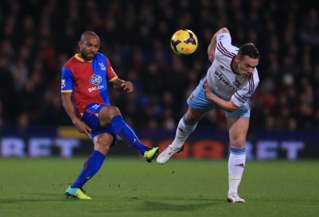 Free Press Series: Crystal Palace's Danny Gabbidon (left) is challenged by West Ham United's Kevin Nolan during the Barclays Premier League match at Selhurst Park, London. PRESS ASSOCIATION Photo. Picture date: Tuesday December 3, 2013. Photo credit should read: Nic
