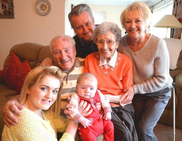 FIVE GENERATIONS: Pictured with nine-week-old Jac Watkins, is from left, mum Ellie Duffield, great-great grandparents George and Dilys Maddocks, Mark Duffield, grandfather, and Julie Duffield, great-grandmother