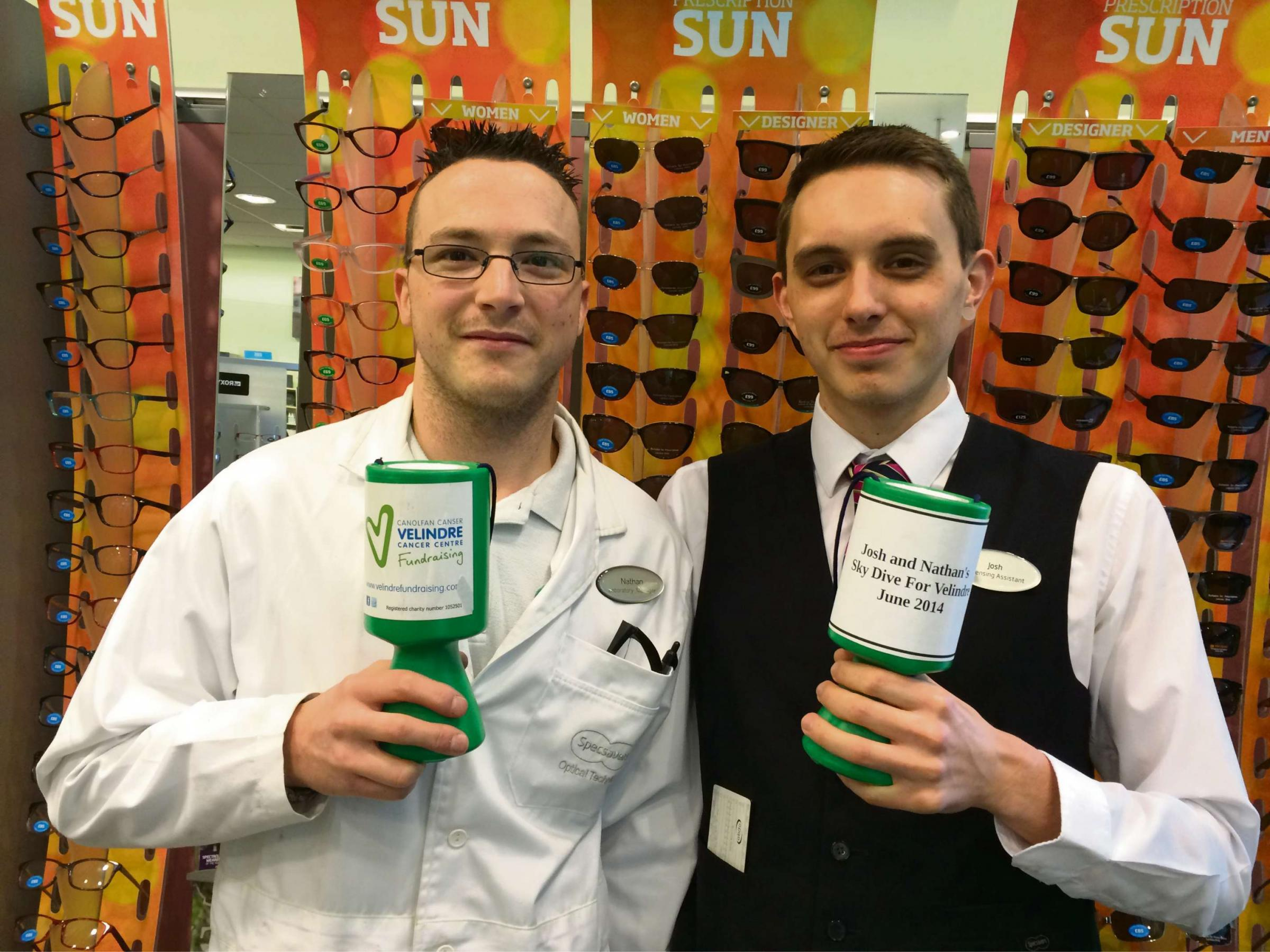Specsavers staff members, Nathan Meehan and Josh Double.