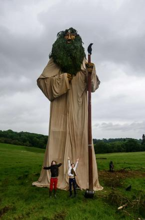 The 50-foot statue 'Mannanan', an Irish sea God who in legend threw his magical cloak over the Isle of Man to protect it from prevailing wind and storms is among the attractions at the Sunrise Celebration Festival in Chepstow.