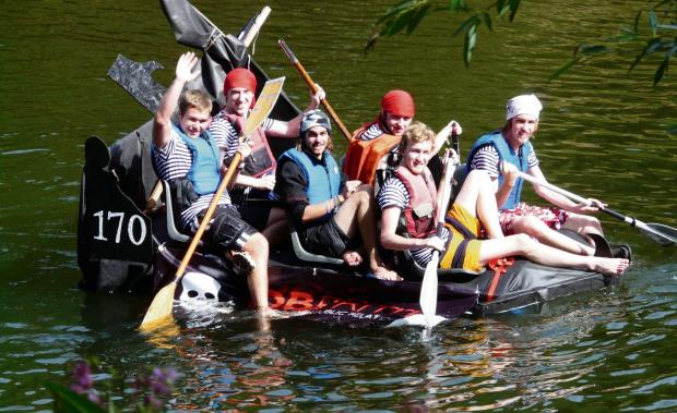 RAFT RACE: A crew with their entry in last year's bumper event