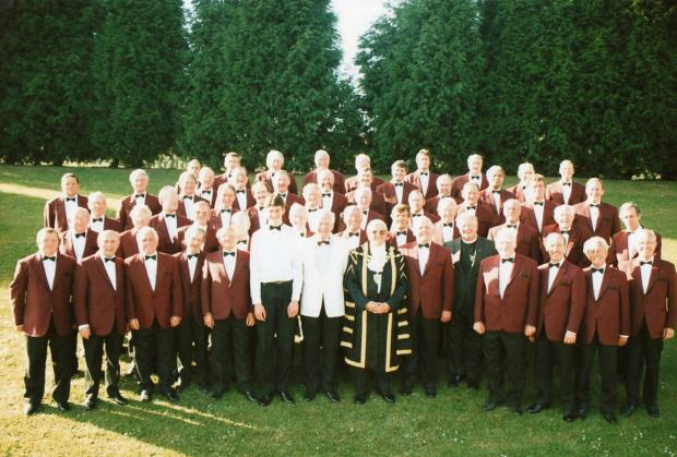 Free Press Series: Fred Bacon (centre) in his full Mayoral regalia with Cwmbran Male Choir