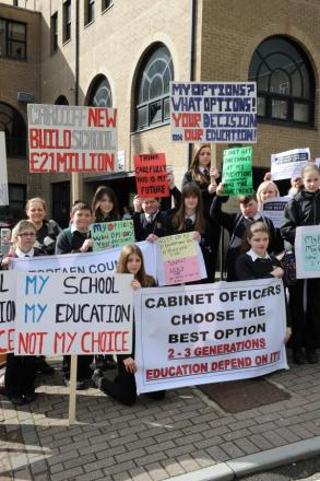 PROTEST: Earlier this year, Llantarnam pupils picketed a council meeting at Pontypool's civic centre